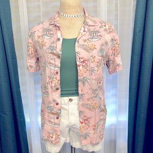 Fitted Pink Hawaiian Shirt